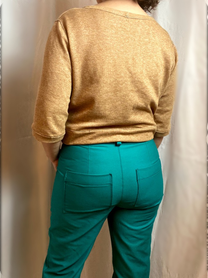 Back view of green lander pants